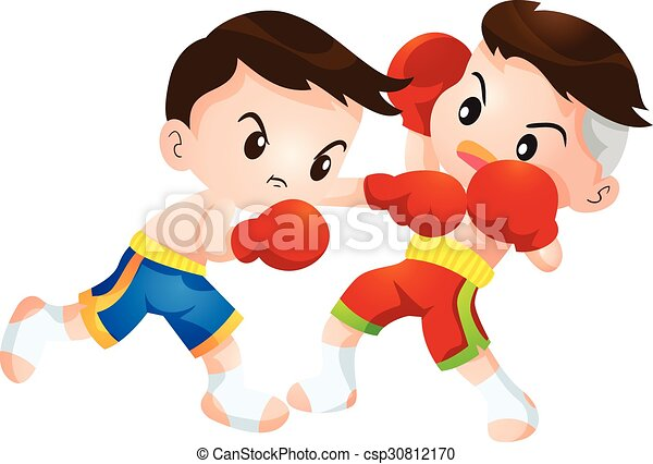 Muaythai Cute Thai Boxing Kids Fighting Actions Hit Strike And Dodge