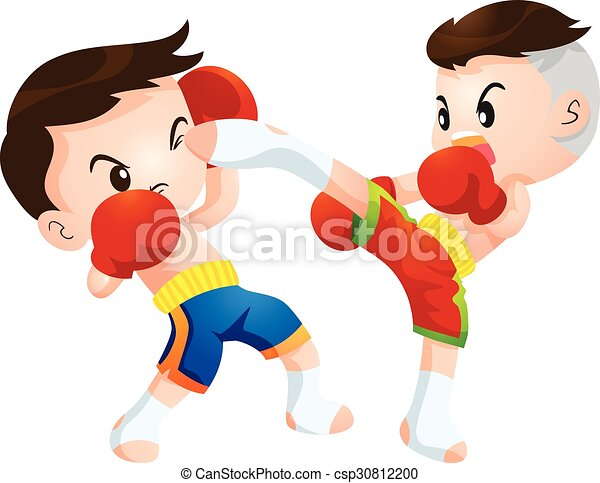 muaythai cute thai boxing kids fighting actions high kick strike rh canstockphoto com