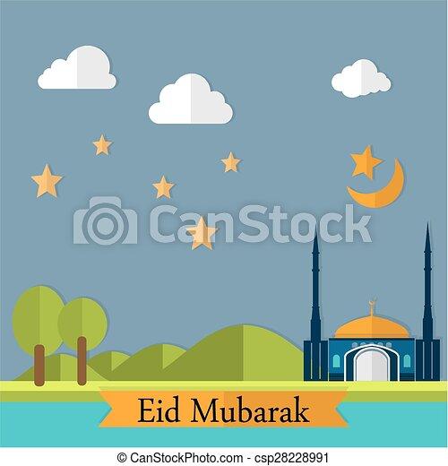 Eid mubarak paisaje - csp28228991