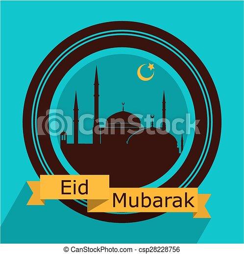 La tarjeta de Eid Mubarak - csp28228756