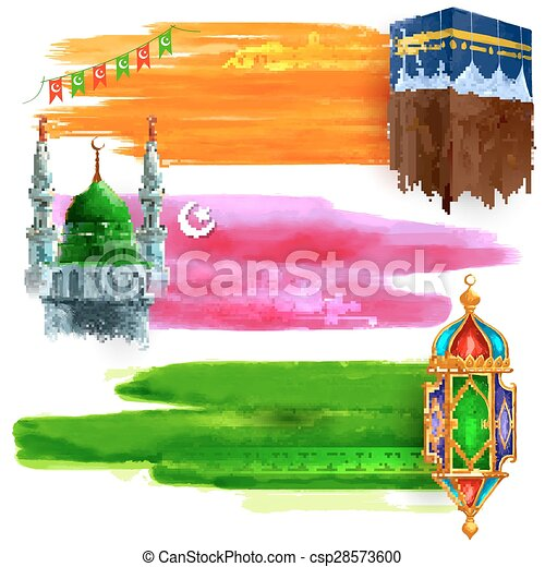 Venta de Eid Mubarak y oferta de promoción - csp28573600