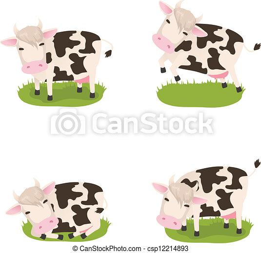 mucche, carino, vettore, set - csp12214893