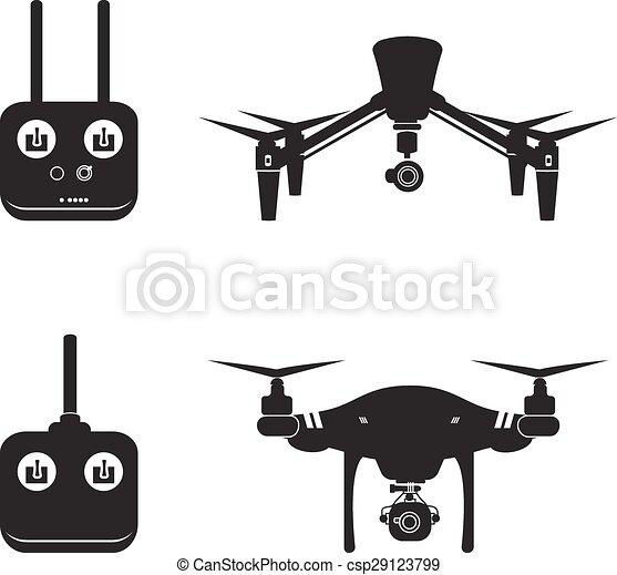 mucha, wektor, antena, ilustracja, truteń, aparat fotograficzny, video, helikopter, sylwetka - csp29123799