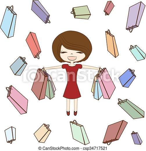 Chica feliz, mujer ilustradora y una bolsa de compras diferente en vector de venta de fondo - csp34717521