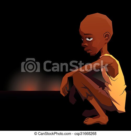 Un triste niño refugiado africano con un pobre vestido sobre los rayos de guerra - csp31668268