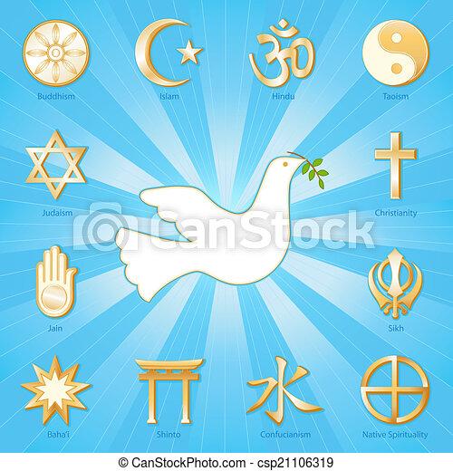 Paloma de paz, muchas fes - csp21106319