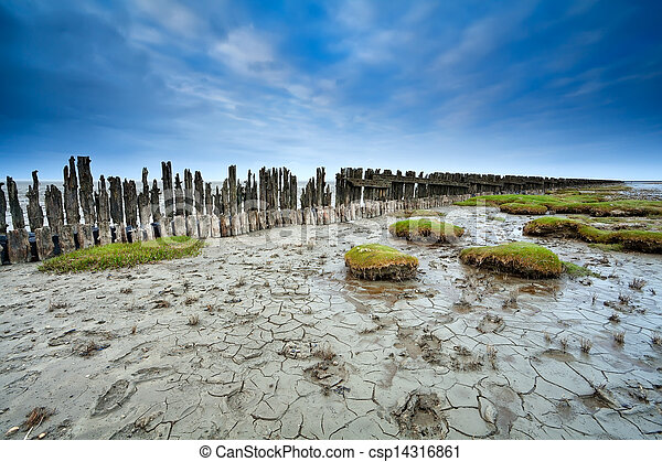 mud at low tide on Waddensee, Moddergat - csp14316861