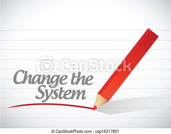 mudança, escrito, mensagem, sistema, ilustração - csp16317801
