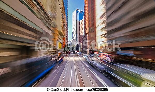 Pasando por la calle de la ciudad moderna. Hong Kong. - csp26308395