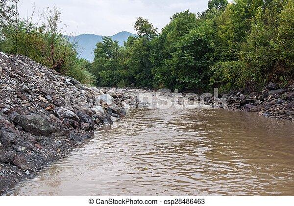 Muddy river at summer season - csp28486463