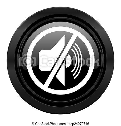 Señal de silencio de ícono negro mudo - csp24079716