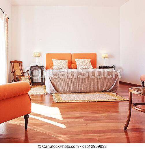 muebles, cómodo, room., interior., cama, dormitorio - csp12959833