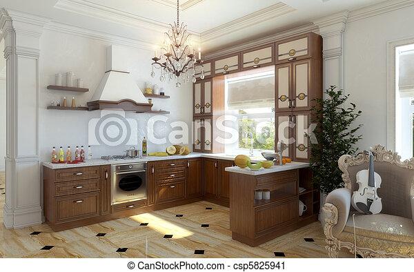 Muebles, cocina. Visualización, cocina, aislado,... clipart - Buscar ...