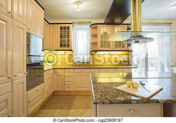 muebles, cocina, lujo, beige