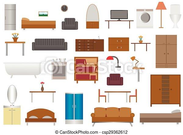muebles iconos plano planta conjunto sill n libros