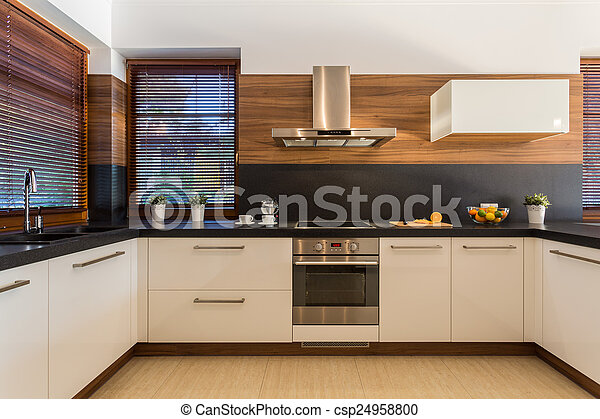 muebles, moderno, lujo, cocina