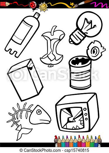 Muell, färbung, karikatur, gegenstände, seite. Färbung,... Vektor ...