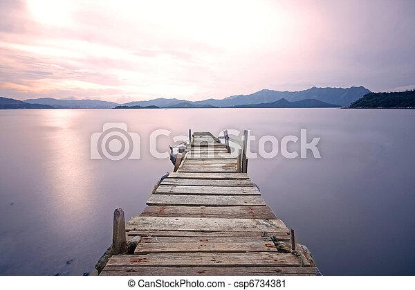 muelle, sendero, viejo, embarcadero, lago - csp6734381