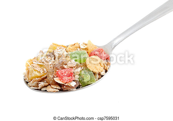 Muesli in spoon isolated on white background - csp7595031