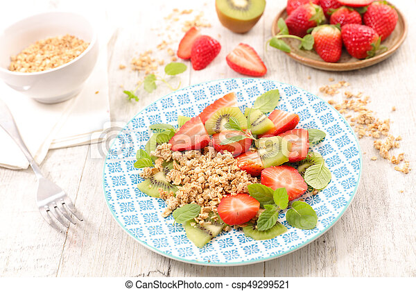 muesli with fruits for breakfast - csp49299521