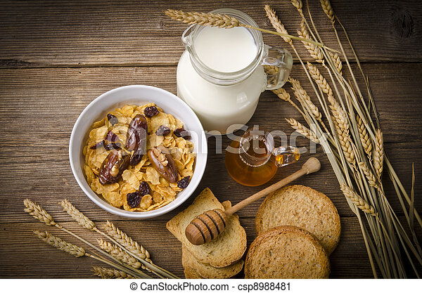 Muesli with low-fat milk and rusk - csp8988481