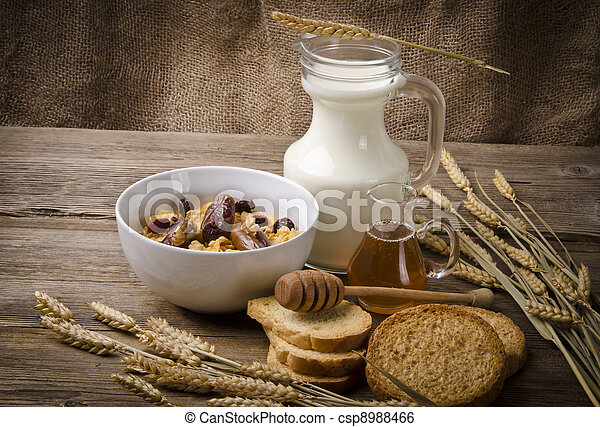 Muesli with low-fat milk and rusk - csp8988466