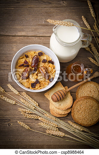 Muesli with low-fat milk and rusk - csp8988464