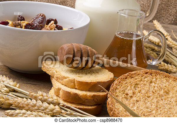 Muesli with low-fat milk and rusk - csp8988470