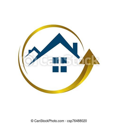 muestra de la flecha, techo, logotipo, icono, vector, hogar, estilista, arriba, mejora, símbolo, casa - csp76488020