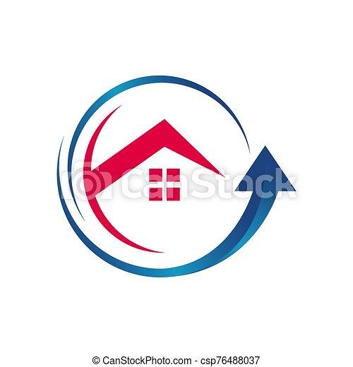 muestra de la flecha, techo, logotipo, icono, vector, hogar, estilista, arriba, mejora, símbolo, casa - csp76488037