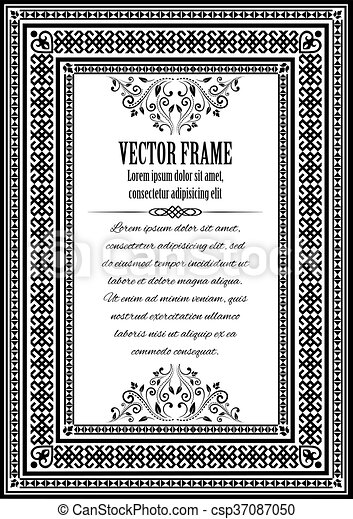 Muestra, vendimia, marco, texto, florido. Elements., color, marco ...