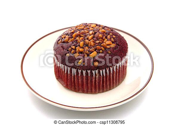Muffin cake on white background. - csp11308795
