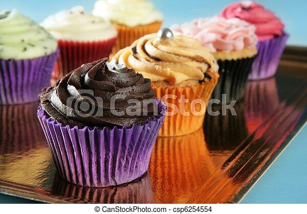 muffin, cupcakes, krém, színes, egyezség - csp6254554