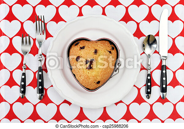 Muffin in shape of heart - csp25988206