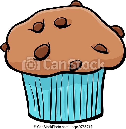 muffin with chocolate cartoon object - csp49766717