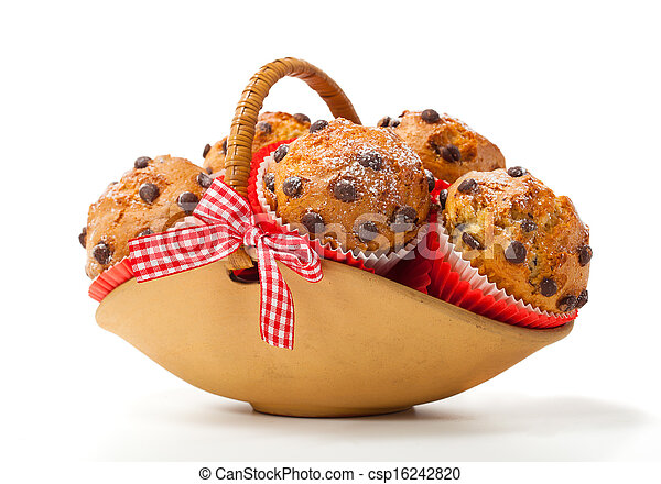 Muffins in a basket isolated on white background - csp16242820