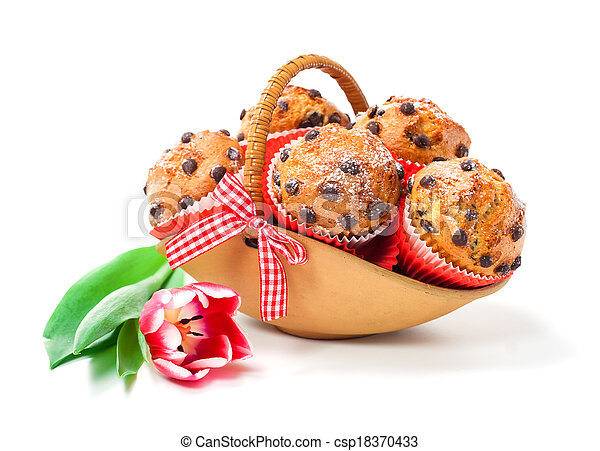 Muffins in a basket isolated on white background - csp18370433