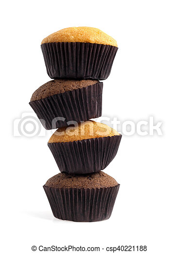 Muffins isolated on a white background - csp40221188