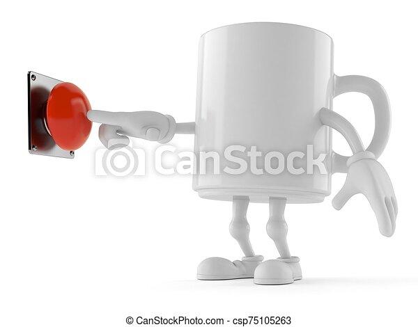 Mug character pushing button on white background - csp75105263