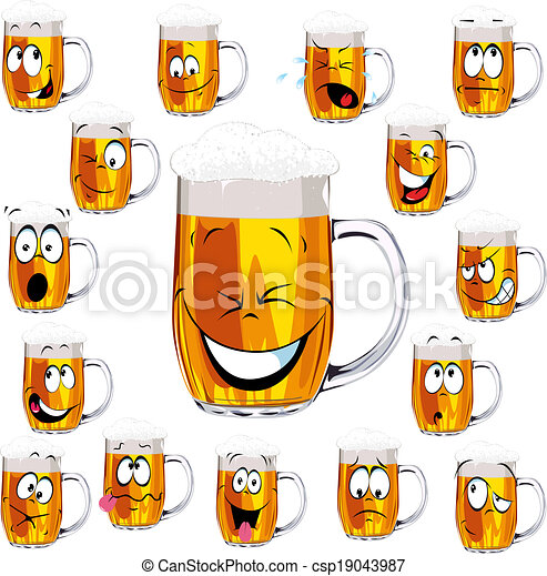 Mug fresh beer cartoon - csp19043987