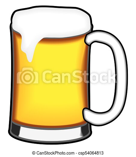 a cool freshly poured mug of beer is waiting to be quaffed vector rh canstockphoto com clip art beer can clip art beer signs