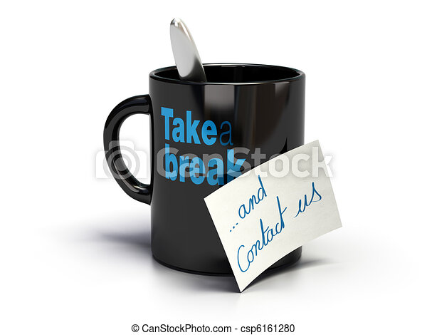 Mug where it's written take a break and note with handwritten contact us text - csp6161280
