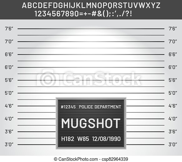 Mugshot template. Police lineup mugshot board with plastic alphabet and signs for criminals photo vector illustration - csp82964339
