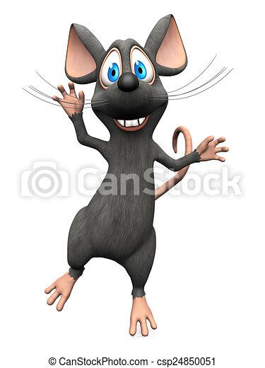muis, het glimlachen, springt, joy., spotprent - csp24850051