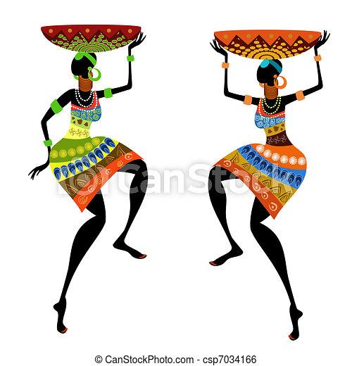 Mujer étnica con jarrón - csp7034166