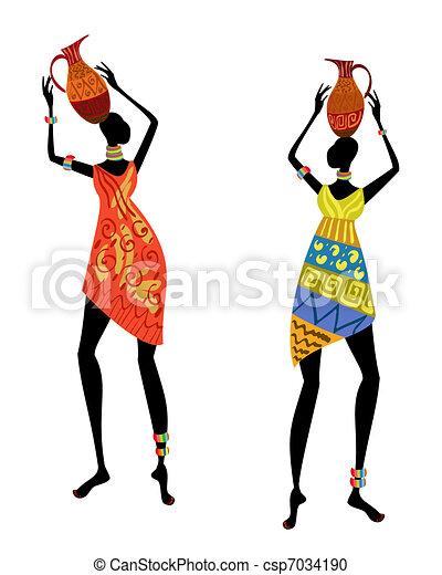 Mujer étnica con jarrón - csp7034190