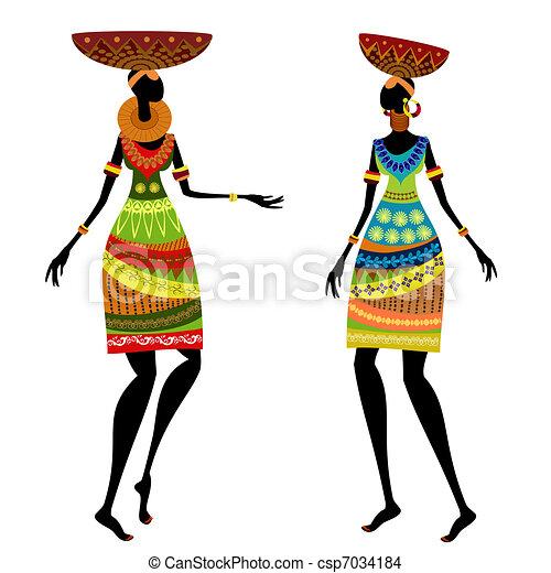 Mujer étnica con jarrón - csp7034184