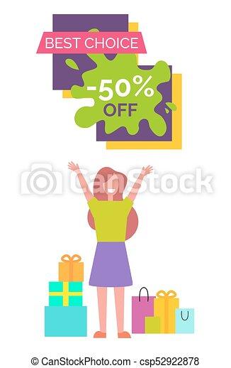 mujer, -50, ilustración, opción, vector, mejor - csp52922878