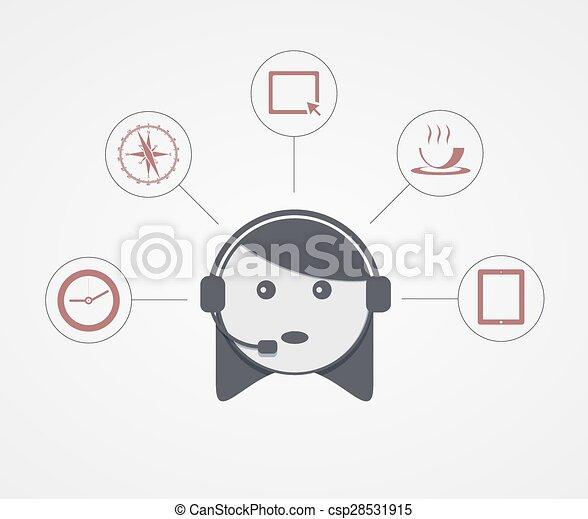 Una mujer de apoyo moderna con icono de muestra en blanco - csp28531915