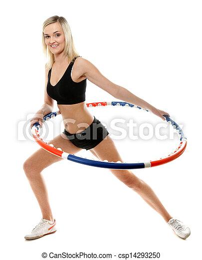 Mujer joven en forma con hula hoop aislado - csp14293250